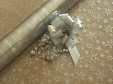 SILVER  SNOWFLAKE CHRISTMAS cellophane gift wrap + PULL BOW(S)  wrapping paper