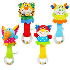 Educational Toy Plush Cartoon Handbell Rattle Soft Animal For Baby Kid