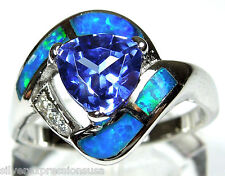 Tanzanite & Blue Fire Opal Inlay Solid 925 Sterling Silver Ring all Sizes