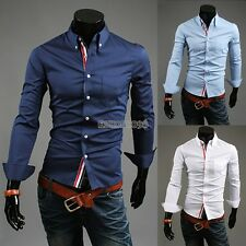 Tops Blouse Shirt Men Handsome Long Sleeve Button Casual Fit NEW OL EP98