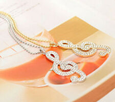 2014 Womens Charms Jewelry Rhinestone Crystal Music Note Pendant Necklace
