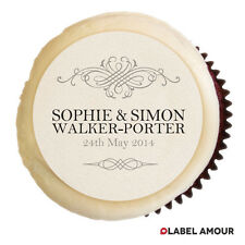 PERSONALISED Wedding Engagement Anniversary Party Cupcake Edible Toppers Hawkins