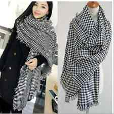 Soft Black&white Checked Plaid oversized Scarf Shawl Wrap couple cashmere-like