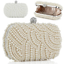 ❤FREE P&P❤ Bridal Beaded Pearl Clutch Evening Party Prom Wedding Gowns Bag Purse