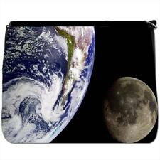 Earth With The Moon In Space Black Large Messenger School Bag
