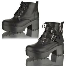 WOMENS LADIES CHUNKY PLATFORM MID HEEL LACE UP STRAP BIKER  BOOTS SHOE SIZE 3-8