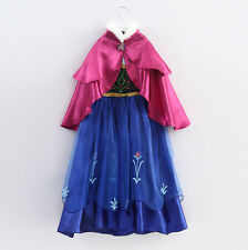 Girl's Frozen Princess Anna Elsa Cosplay Costume Kid's Party Dress+Cloak  gift