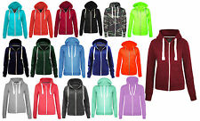 Womens Plain Zip Hoodie Winter Sweatshirt Casual top Ladies Jacket Coat Size8-16