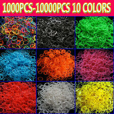 RAINBOW COLOR LOOM KITS REFILL RUBBER BANDS -ALL 10 COLORS + FREE CLIPS LOTS