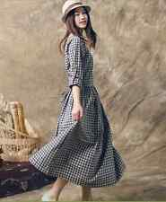 Autumn vintage theatrical new plaid long-sleeved dress waist skirt College Wind
