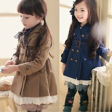 Girls Kids Trench Coat Wind Jacket 2-7Y Parka Fall Winter Dress Outwear Clothing