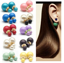 1pair Celebrity Chic Runway Double Pearl Beads Plug Earrings Ear Studs Pin Women