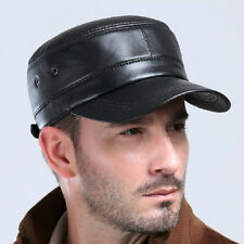 Men's GENUINE Leather Military Army Cap Newsboy Baseball Golf Driving Cadet  Hat