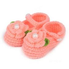 Newborn baby Infant Girls Cute Crochet Knit Socks Crib Shoes Fit 0-12 Months