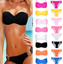 Sexy Womens Push-up Padded Bandeau Top and Bottom Bikini Swimwear Beach Swimsuit