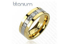 NEW in GIFTBOX! Men's Gold Ion Plated Silver TITANIUM CZ Wedding Ring Band 9-13