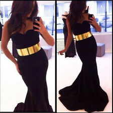 Sexy Women Sleeveless Belt Prom Ball Cocktail Party Dress Formal Evening Gown