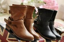 Women's Vintage Buckle Flat Motorcycle Ankle Boots
