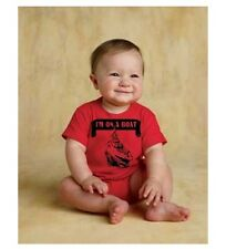 I'm On A Boat baby infant creeper one piece onesie RED BLACK nautical sailor boy
