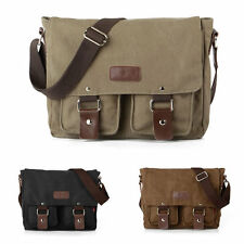 Vintage Canvas Leather Satchel Messenger Shoulder School Camera DSLR Ipad Bag UK
