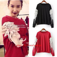 Women White Feather Long sleeve Pullover Jumper Hoodies Sweater Sweatshirts Tops