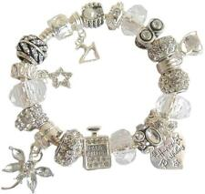 LADIES CHARM BRACELET CLEAR & SILVER  BIRTHDAY & MESSAGE CHARM PRESENT BOXED