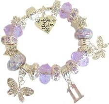 GIRLS CHARM BRACELET LILAC  BIRTHDAY MESSAGE CHARM 9TH 10TH 11TH 12TH 13TH GIFT