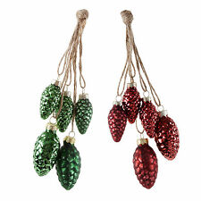 Traditional Red or Green Glass Pine Cone Bauble Bundle Christmas Tree Decoration