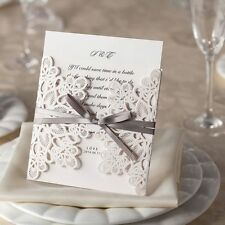 White Ribbons and Lace Wedding or Corporate Laser Cut Invitation High Quality