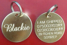 ENGRAVED PET TAGS ID DISC TAG CAT DOG METAL BRASS SILVER NICKEL + SPLIT RING
