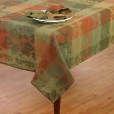 FALL LEAVES Cotton Park Cottage Jacquard Tablecloth Autumn Green Rust Leaf NIP