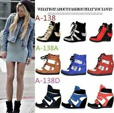 Chic Celeb Style Velcro Hidden Wedge Hi Top Sneakers Trainers Ankle Boots Shoes