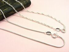 "925 Sterling Silver Filled SNAKE or Twisted Link CHAIN Necklace 45CM (18"")"