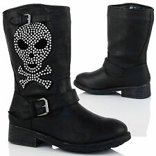 D8T New Womens Flat Skull Biker Ankle Boots Fashion Pull Ons Ladies Shoes Size