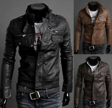 Vintage Retro Men Trench Stand Collar Windbreaker Faux Leather Coat Jackets XS~L