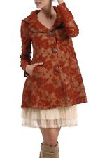 RYU Red Brick Lace Coat with Floral Details Vintage Anthropologie Jacket S M L