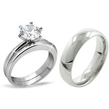 His Hers 3PCS Classic Stainless Steel Engagement Ring Set w/Mens Matching Band