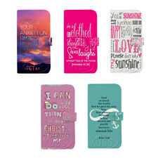 Faith Bible Verse Quotes Wallet Flip PU Leather Case for Samsung Galaxy S3 S4 S5