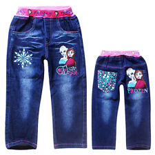New Girls Frozen Elsa Anna Princess Long Denim Jeans Pants Trousers 2-8 Years