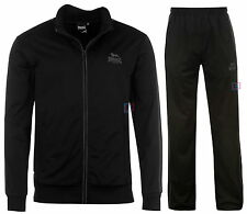 Lonsdale Boxing Mens Tracksuit Black Charcoal Track Top & Pants Sizes S - 4XL