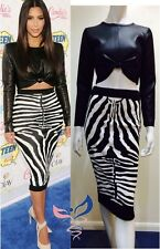 Womens Ladies Celebs Kim Kardashian Zebra Print Bodycon Midi Skirt Top Set Dress