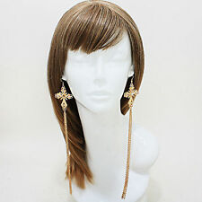 Cross Drop Earrings Elongated Fringe with Crystals, Silver or Gold NEW