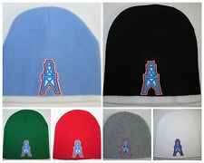 HOUSTON OILERS BEANIE ~SKULL CAP ~HAT ~NFL PATCH/LOGO ~SKY BLUE, RED, GRAY ~NEW