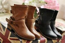 Women's Vintage PU Leather Buckle Flat Motorcycle Ankle Boots