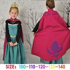 Girls Disney Frozen Princess Elsa Costumes child Kits Black Dress With Red Cape