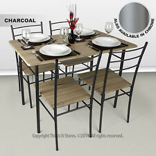 Cecilia 5 Piece Natural Wood Veneer Rectangle Table Dining Set Flat Packed