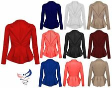 Womens Ladies Crop Frill Shift Slim Fit Fitted Peplum Blazer Jacket Coat UK 8-16