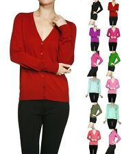 Solid Sweater Cardigan V-Neck Long Sleeve Open Button Knit Top Jacket - S M L