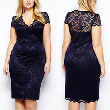 New Sexy Women Short Sleeve Lace Bodycon Pencil Skirt Cocktail Celeb Party Dress