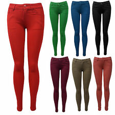 New Womens Coloured Stretch Slim Fit Skinny Pants Trousers Ladies UK 8-14